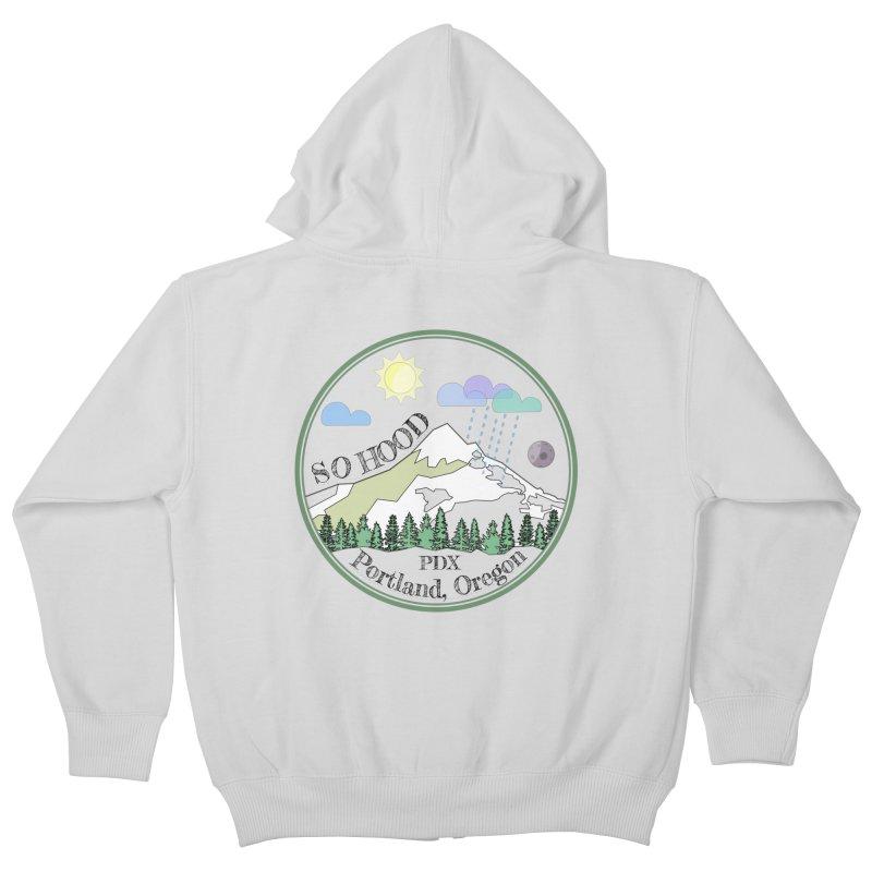 Mt. Hood [transparent background, dark text] Kids Zip-Up Hoody by Northern Limit
