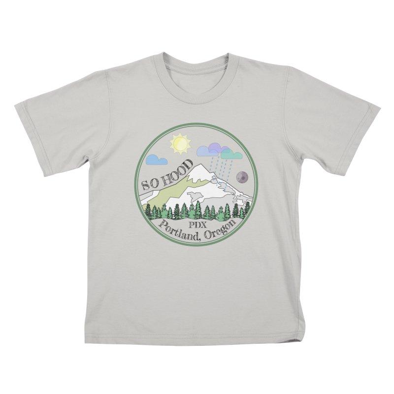 Mt. Hood [transparent background, dark text] Kids T-Shirt by Northern Limit