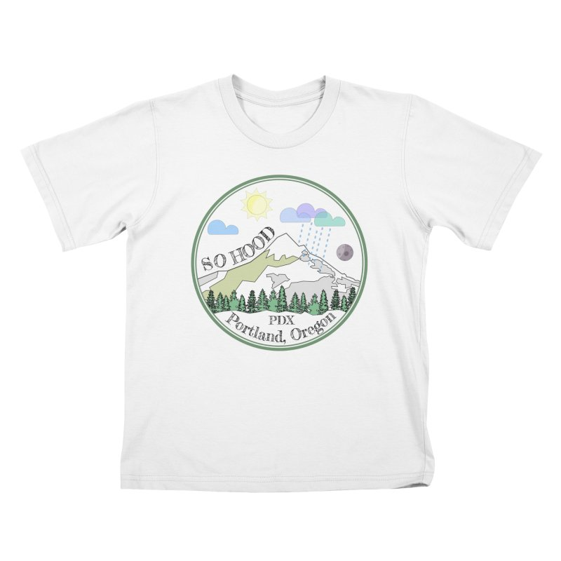 Mt. Hood [transparent background, dark text] Kids T-Shirt by Northern Limit