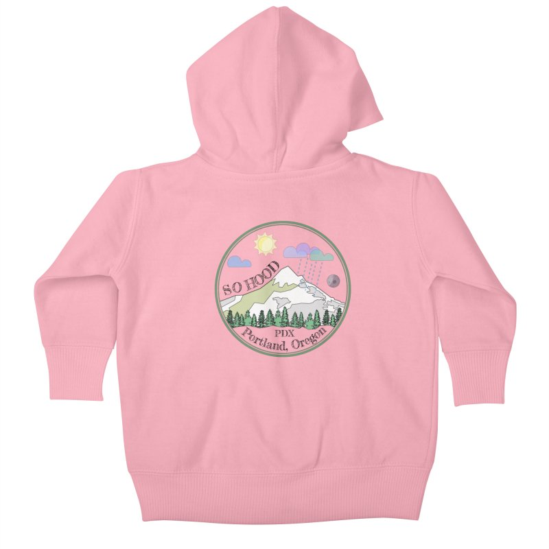 Mt. Hood [transparent background, dark text] Kids Baby Zip-Up Hoody by Northern Limit