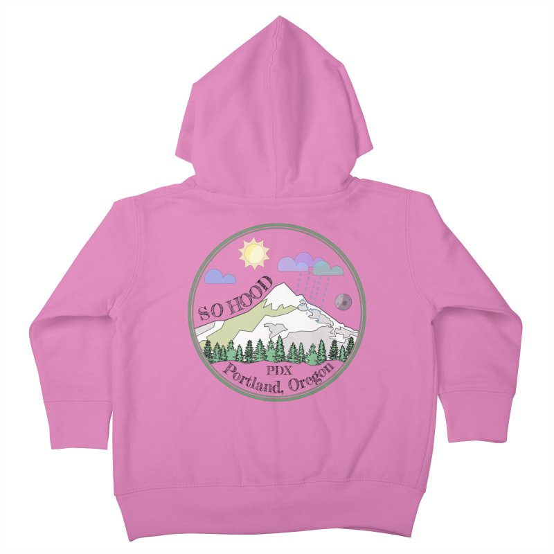 Mt. Hood [transparent background, dark text] Kids Toddler Zip-Up Hoody by Northern Limit