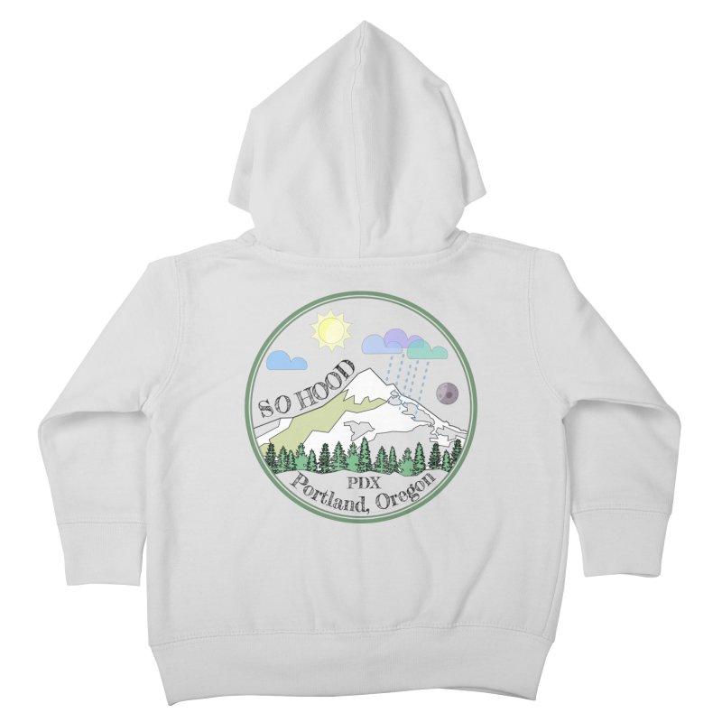 Mt. Hood [transparent background, dark text] Kids Toddler Zip-Up Hoody by Northern Limit