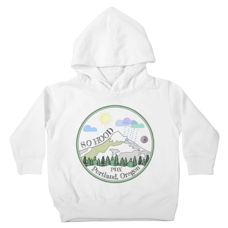 Mt. Hood [transparent background, dark text] Kids Toddler Pullover Hoody by Northern Limit