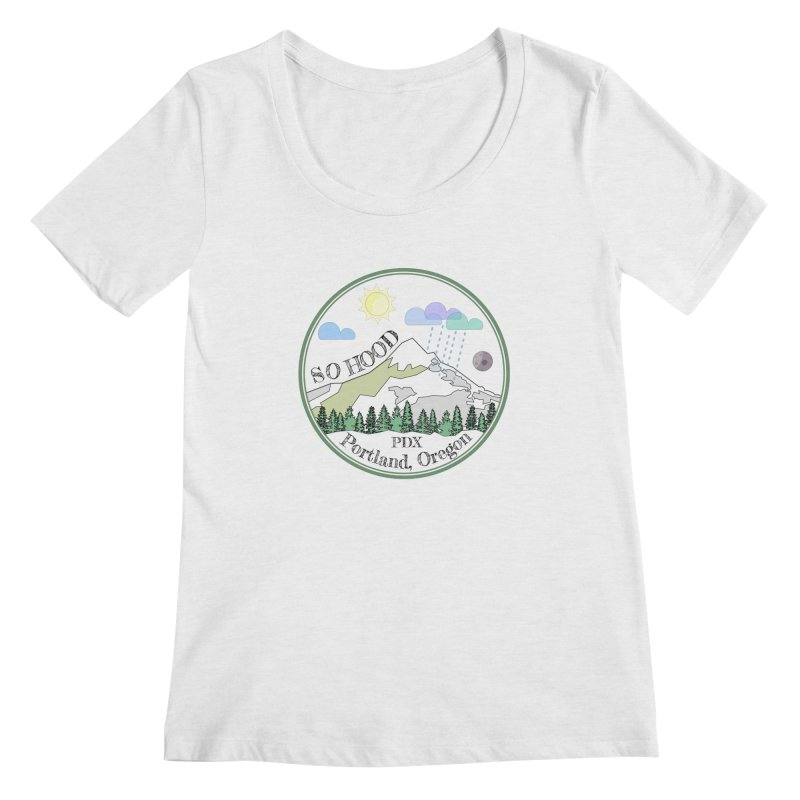 Mt. Hood [transparent background, dark text] Women's Regular Scoop Neck by Northern Limit