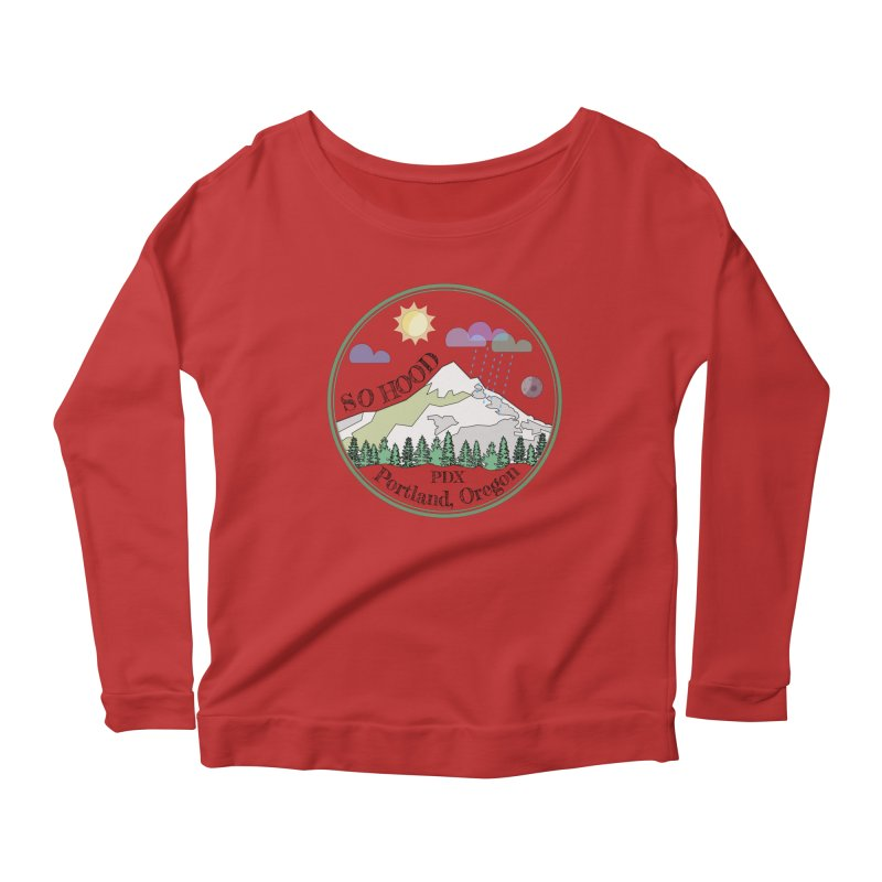 Mt. Hood [transparent background, dark text] Women's Longsleeve Scoopneck  by Northern Limit