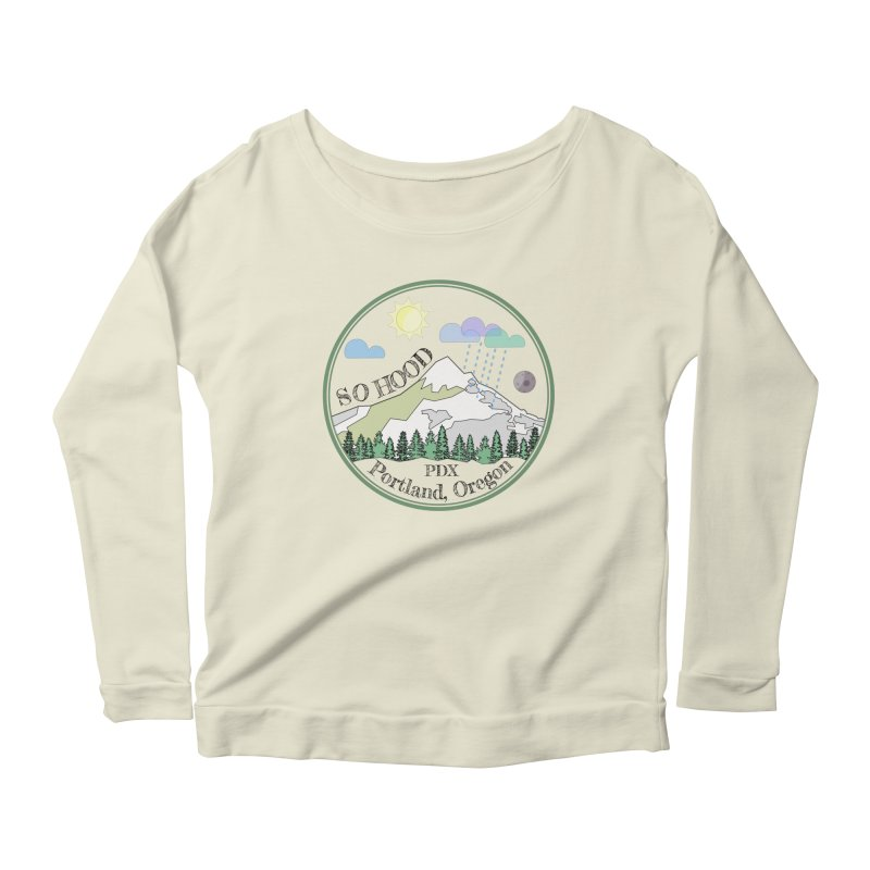 Mt. Hood [transparent background, dark text] Women's Scoop Neck Longsleeve T-Shirt by Northern Limit