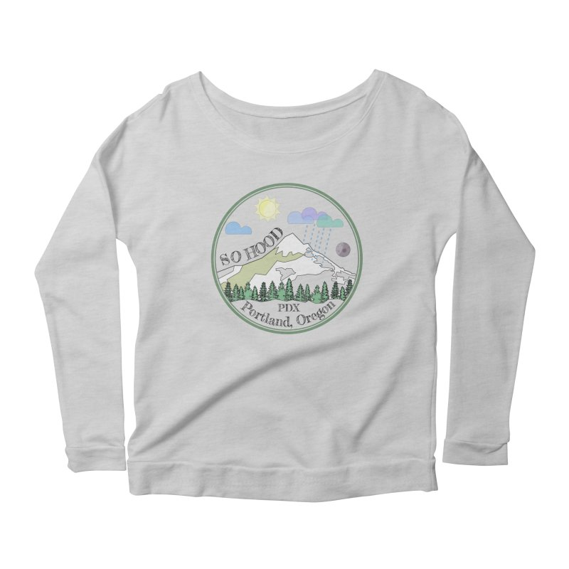 Mt. Hood [transparent background, dark text] Women's Scoop Neck Longsleeve T-Shirt by Northern Limit