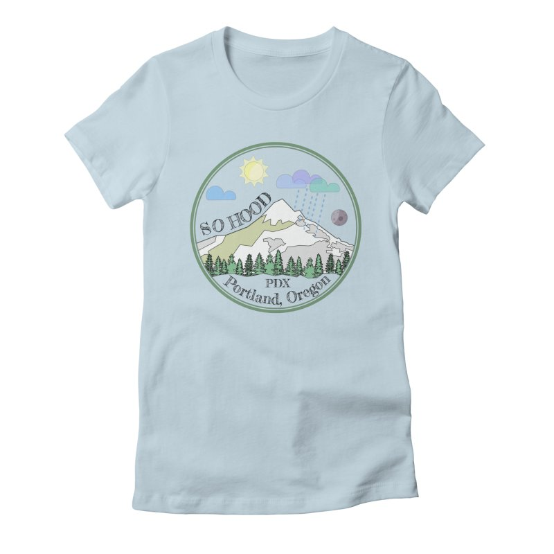 Mt. Hood [transparent background, dark text] Women's Fitted T-Shirt by Northern Limit