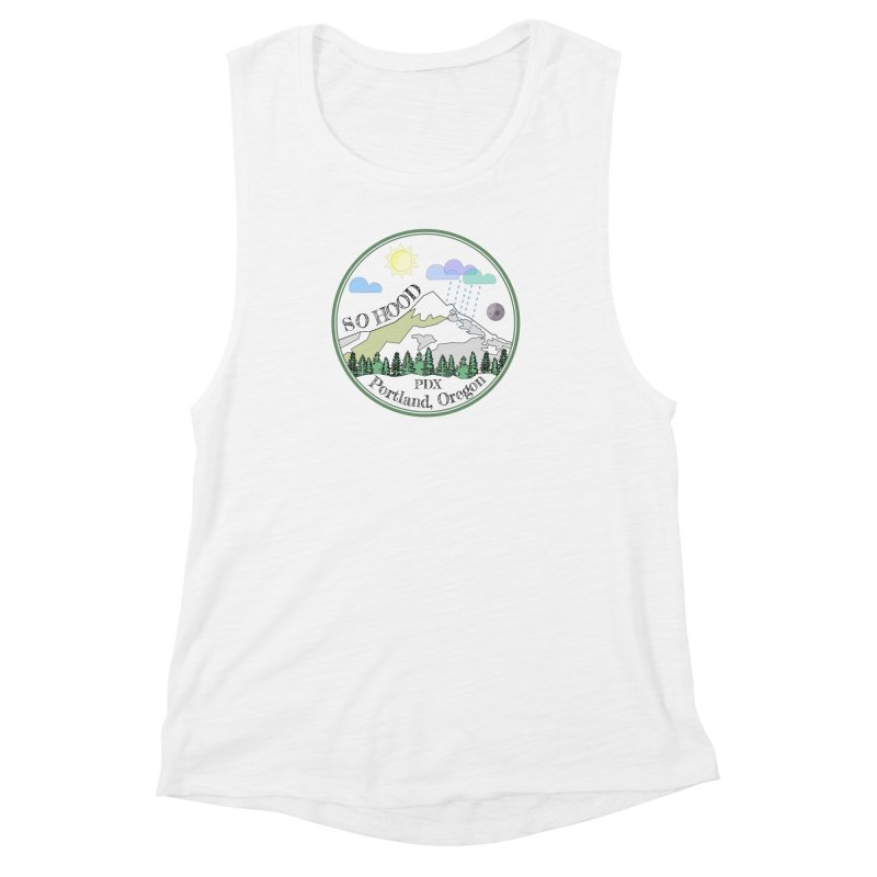 Mt. Hood [transparent background, dark text] Women's Muscle Tank by Northern Limit