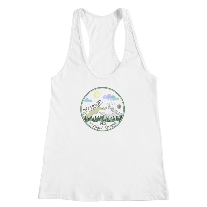 Mt. Hood [transparent background, dark text] Women's Racerback Tank by Northern Limit