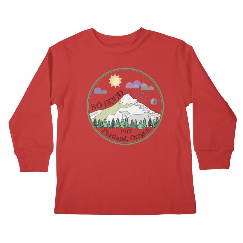 Mt. Hood [transparent background, dark text] Kids Longsleeve T-Shirt by Northern Limit