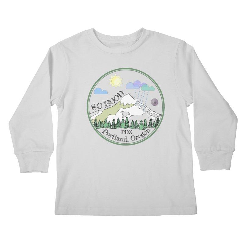 Mt. Hood [transparent background, dark text] Kids Longsleeve T-Shirt by Northern Limit