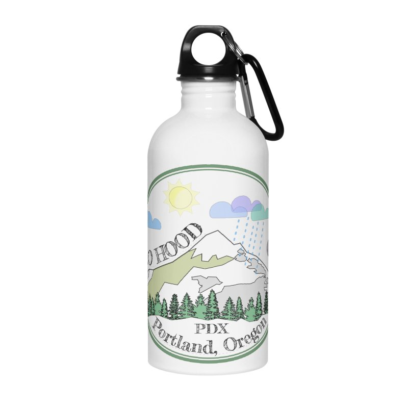 Mt. Hood [transparent background, dark text] Accessories Water Bottle by Northern Limit