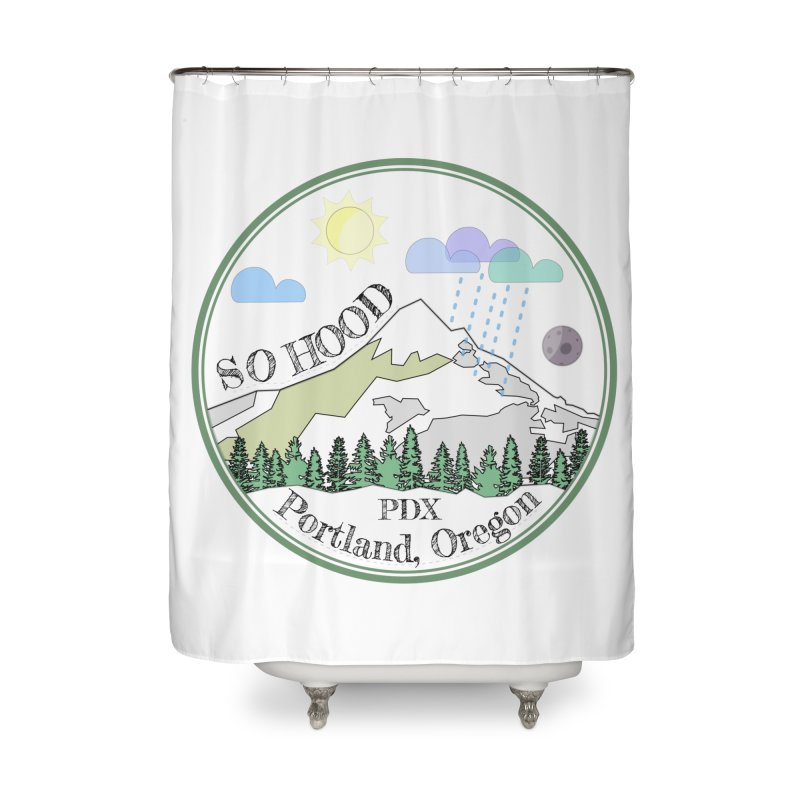 Mt. Hood [transparent background, dark text] Home Shower Curtain by Northern Limit