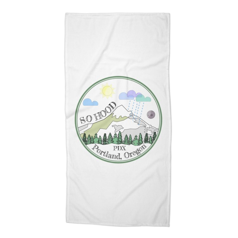 Mt. Hood [transparent background, dark text] Accessories Beach Towel by Northern Limit