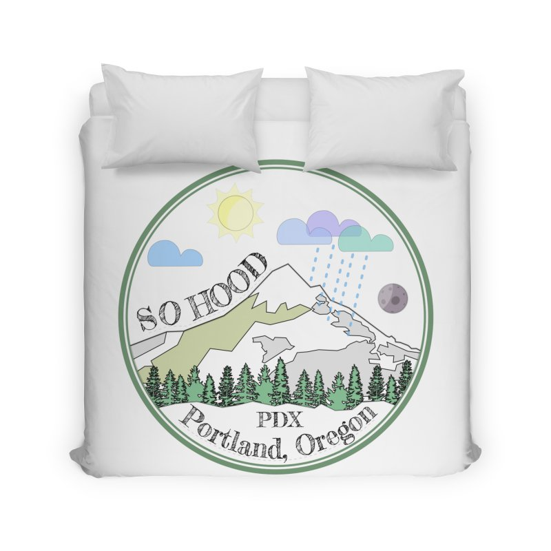 Mt. Hood [transparent background, dark text] Home Duvet by Northern Limit