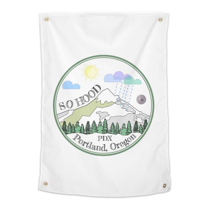 Mt. Hood [transparent background, dark text] Home Tapestry by Northern Limit
