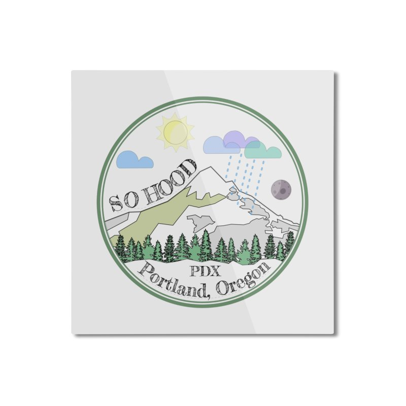 Mt. Hood [transparent background, dark text] Home Mounted Aluminum Print by Northern Limit