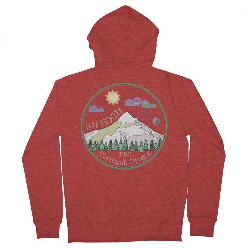 Mt. Hood [Day, transparent background, light text] Women's French Terry Zip-Up Hoody by Northern Limit
