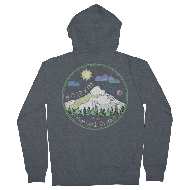 Mt. Hood [Day, transparent background, light text] Men's French Terry Zip-Up Hoody by Northern Limit