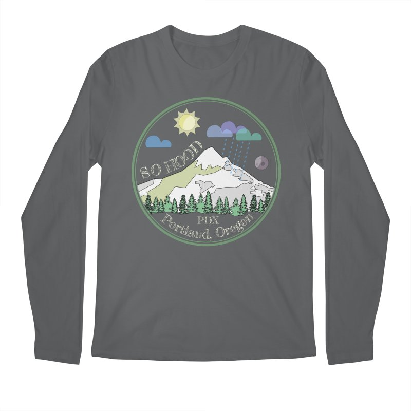 Mt. Hood [Day, transparent background, light text] Men's Regular Longsleeve T-Shirt by Northern Limit