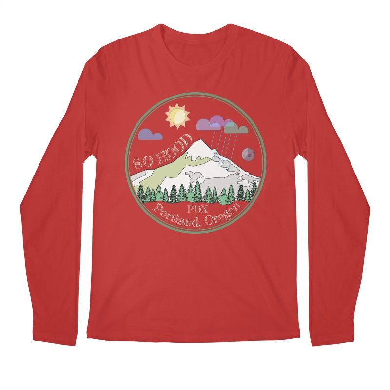 Mt. Hood [Day, transparent background, light text] Men's Longsleeve T-Shirt by Northern Limit