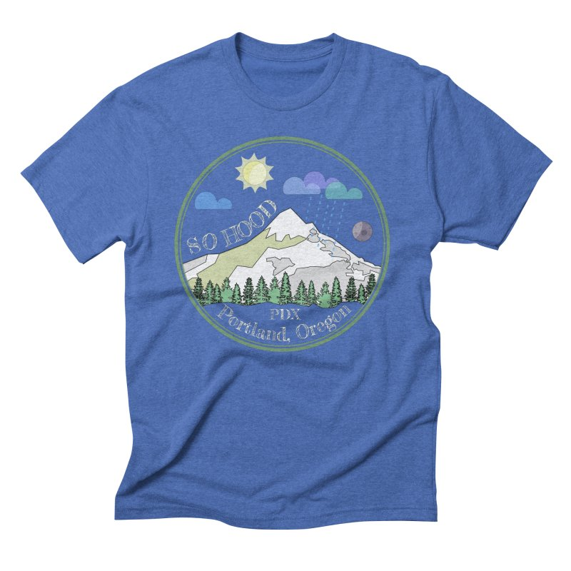 Mt. Hood [Day, transparent background, light text] Men's Triblend T-Shirt by Northern Limit