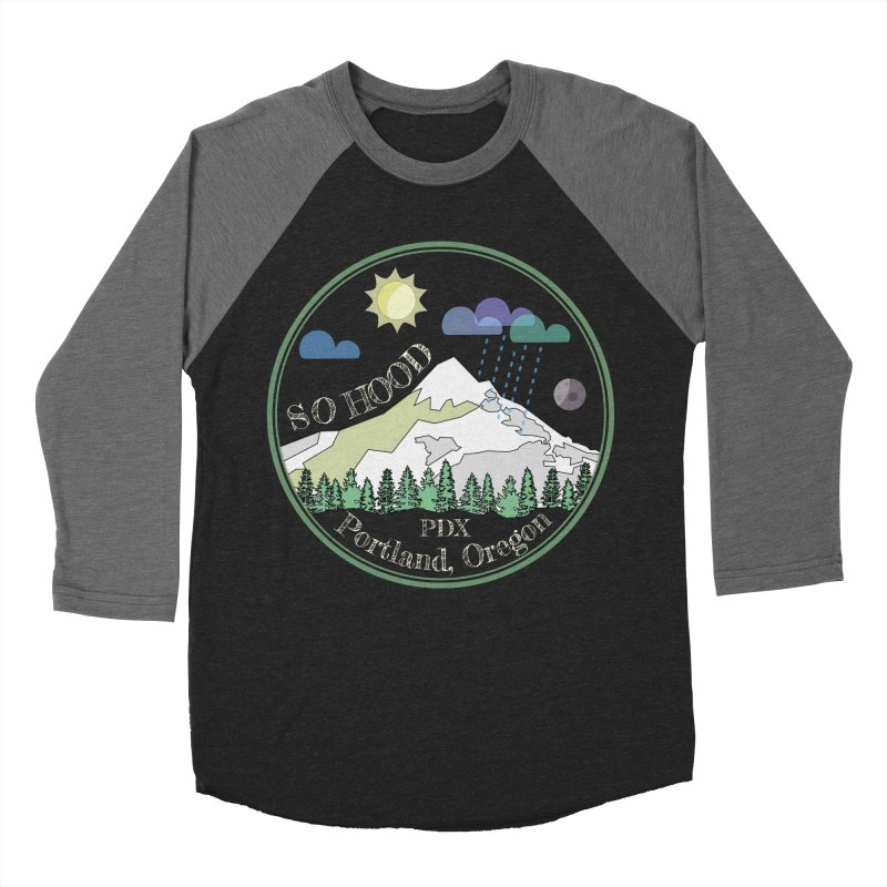 Mt. Hood [Day, transparent background, light text] Men's Baseball Triblend Longsleeve T-Shirt by Northern Limit
