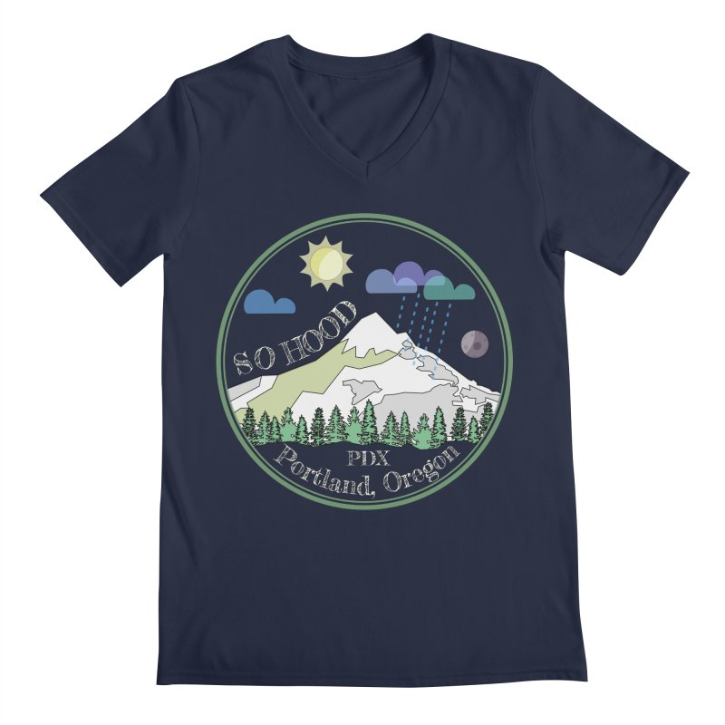 Mt. Hood [Day, transparent background, light text] Men's V-Neck by Northern Limit