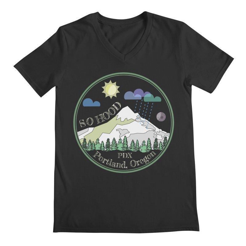 Mt. Hood [Day, transparent background, light text] Men's Regular V-Neck by Northern Limit