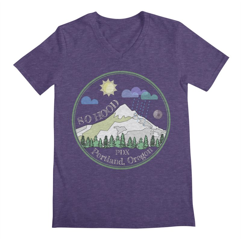 Mt. Hood [Day, transparent background, light text] Men's Regular V-Neck by Northern Limit