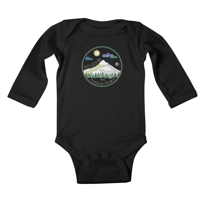 Mt. Hood [Day, transparent background, light text] Kids Baby Longsleeve Bodysuit by Northern Limit
