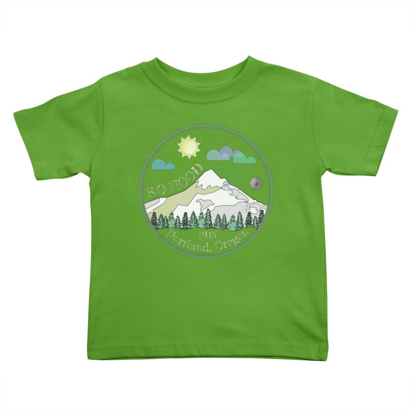Mt. Hood [Day, transparent background, light text] Kids Toddler T-Shirt by Northern Limit