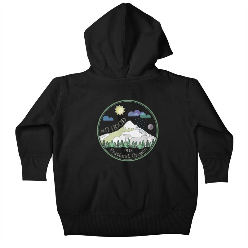 Mt. Hood [Day, transparent background, light text] Kids Baby Zip-Up Hoody by Northern Limit