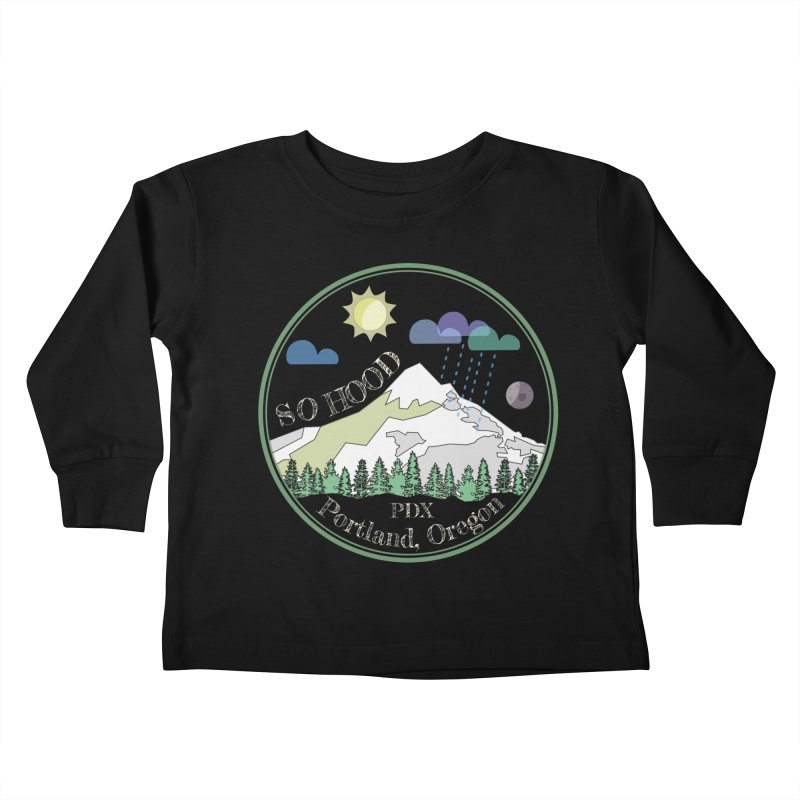 Mt. Hood [Day, transparent background, light text] Kids Toddler Longsleeve T-Shirt by Northern Limit