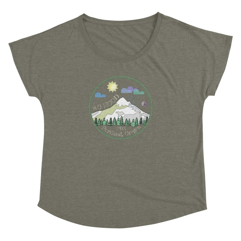 Mt. Hood [Day, transparent background, light text] Women's Dolman Scoop Neck by Northern Limit