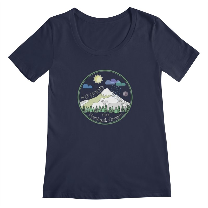 Mt. Hood [Day, transparent background, light text] Women's Regular Scoop Neck by Northern Limit