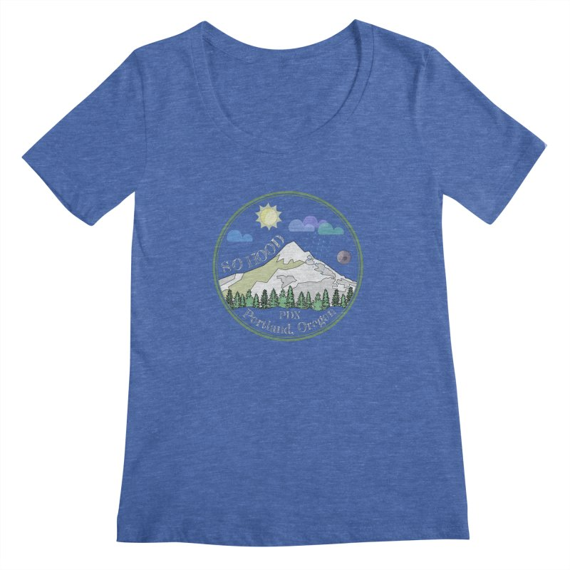 Mt. Hood [Day, transparent background, light text] Women's Scoopneck by Northern Limit