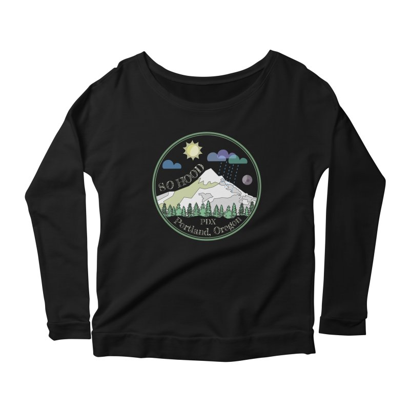 Mt. Hood [Day, transparent background, light text] Women's Scoop Neck Longsleeve T-Shirt by Northern Limit