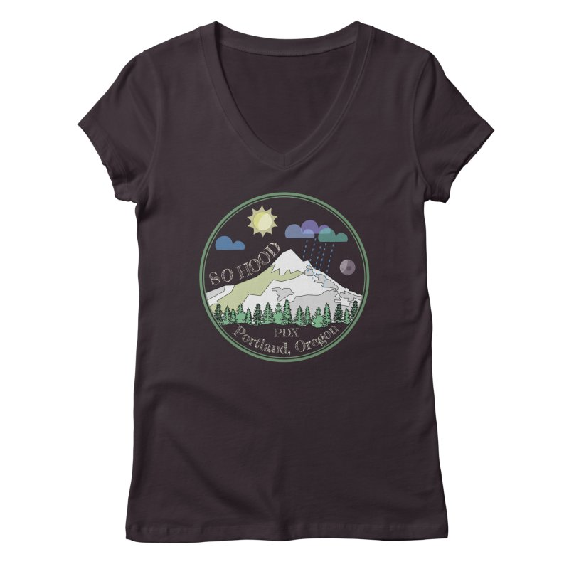 Mt. Hood [Day, transparent background, light text] Women's Regular V-Neck by Northern Limit