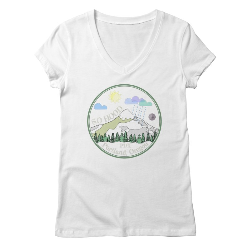 Mt. Hood [Day, transparent background, light text] Women's V-Neck by Northern Limit
