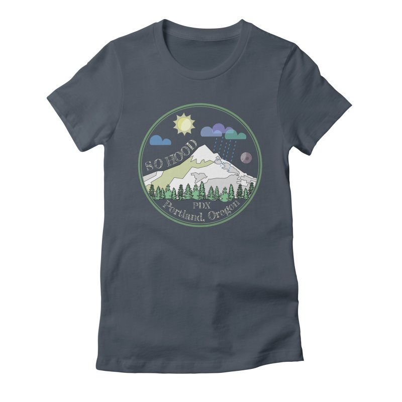Mt. Hood [Day, transparent background, light text] Women's Fitted T-Shirt by Northern Limit