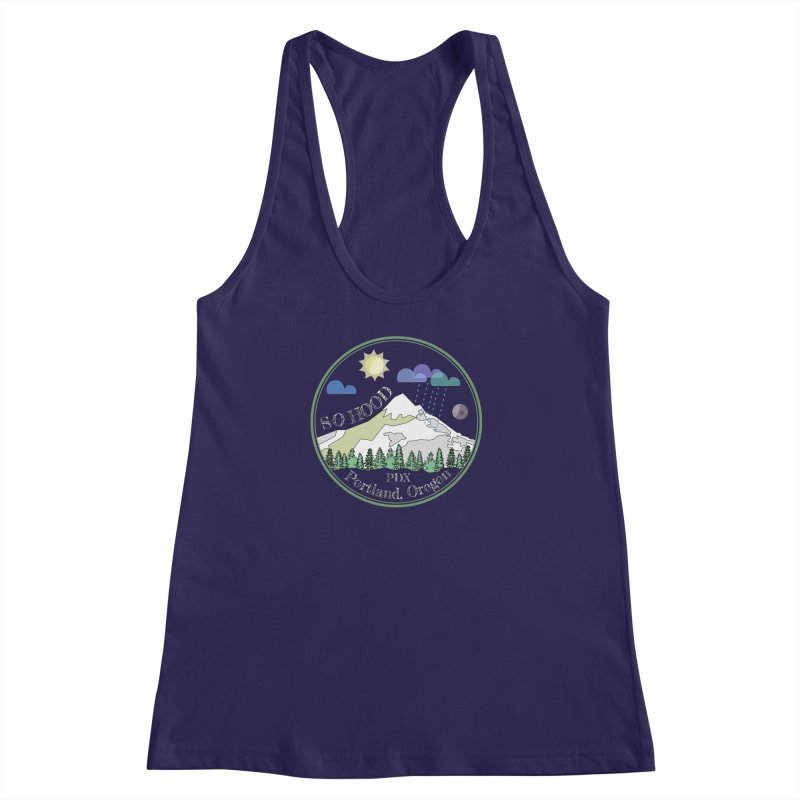 Mt. Hood [Day, transparent background, light text] Women's Racerback Tank by Northern Limit