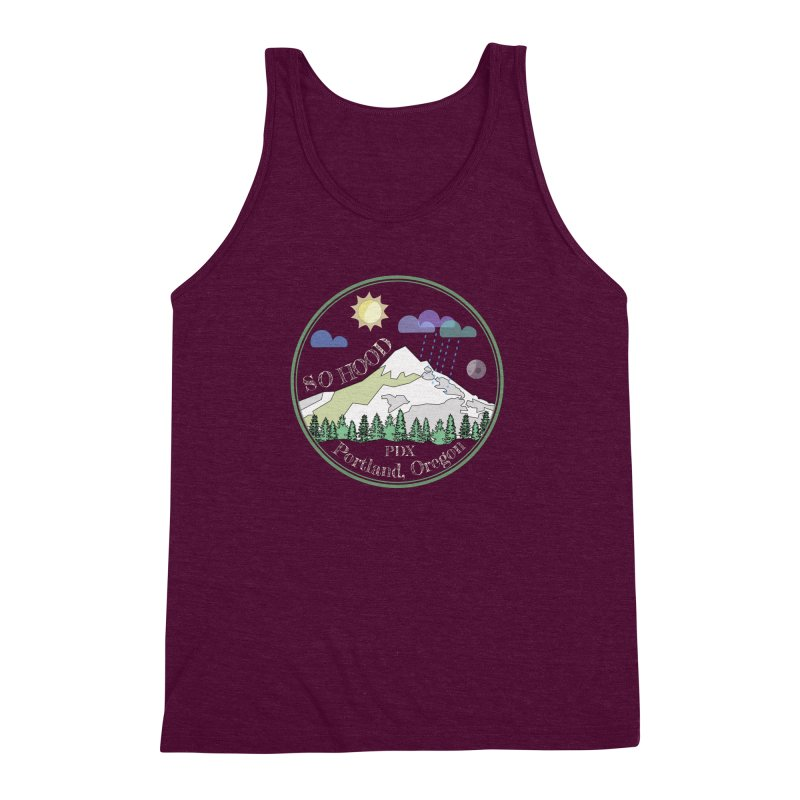 Mt. Hood [Day, transparent background, light text] Men's Triblend Tank by Northern Limit