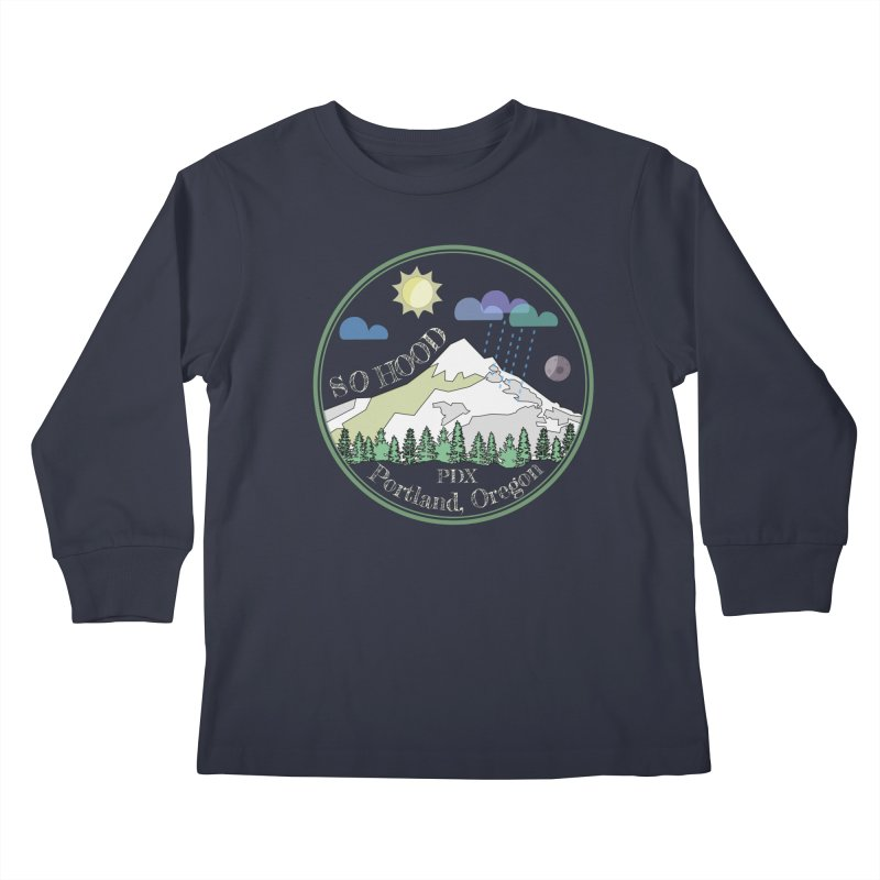 Mt. Hood [Day, transparent background, light text] Kids Longsleeve T-Shirt by Northern Limit