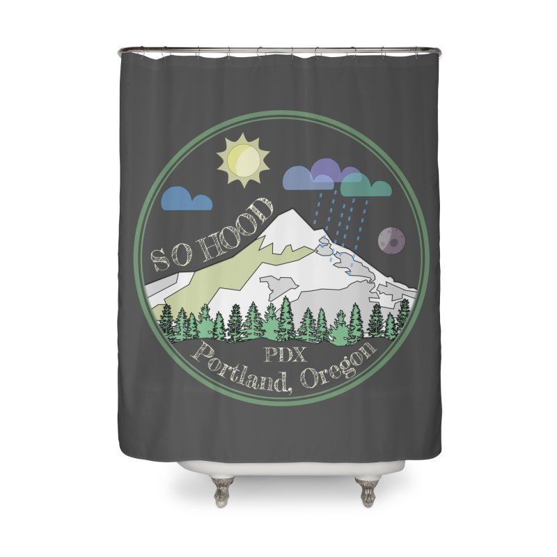 Mt. Hood [Day, transparent background, light text] Home Shower Curtain by Northern Limit