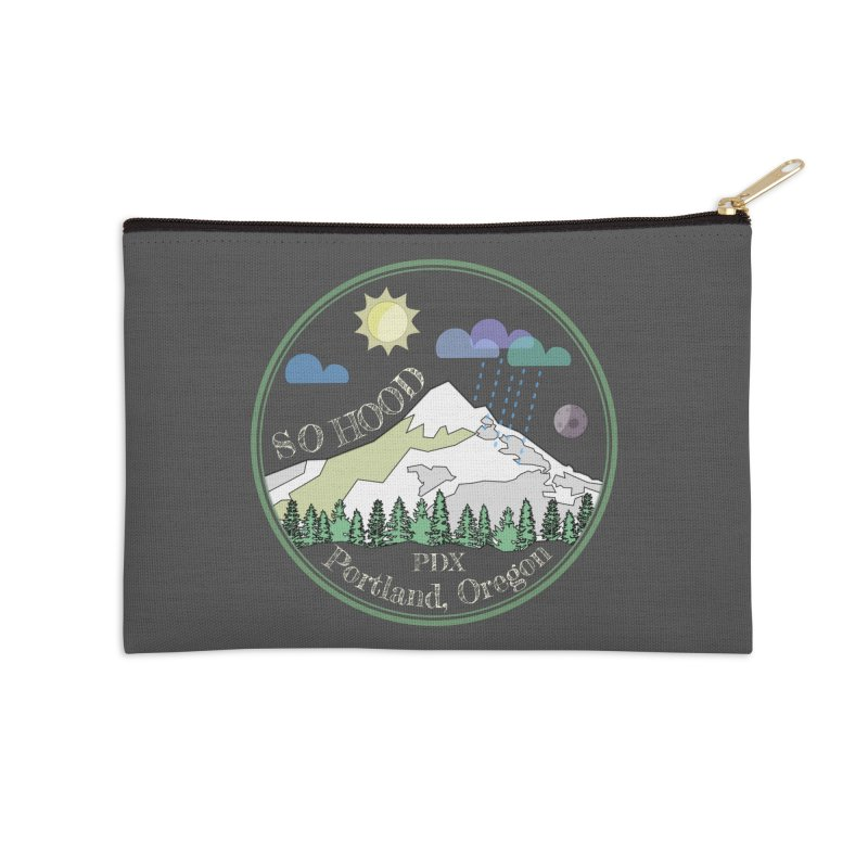 Mt. Hood [Day, transparent background, light text] Accessories Zip Pouch by Northern Limit