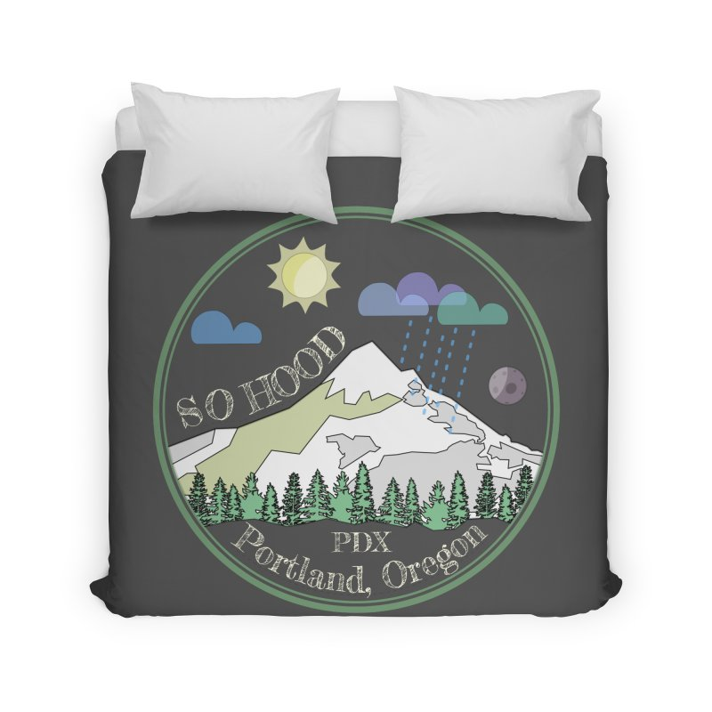 Mt. Hood [Day, transparent background, light text] Home Duvet by Northern Limit