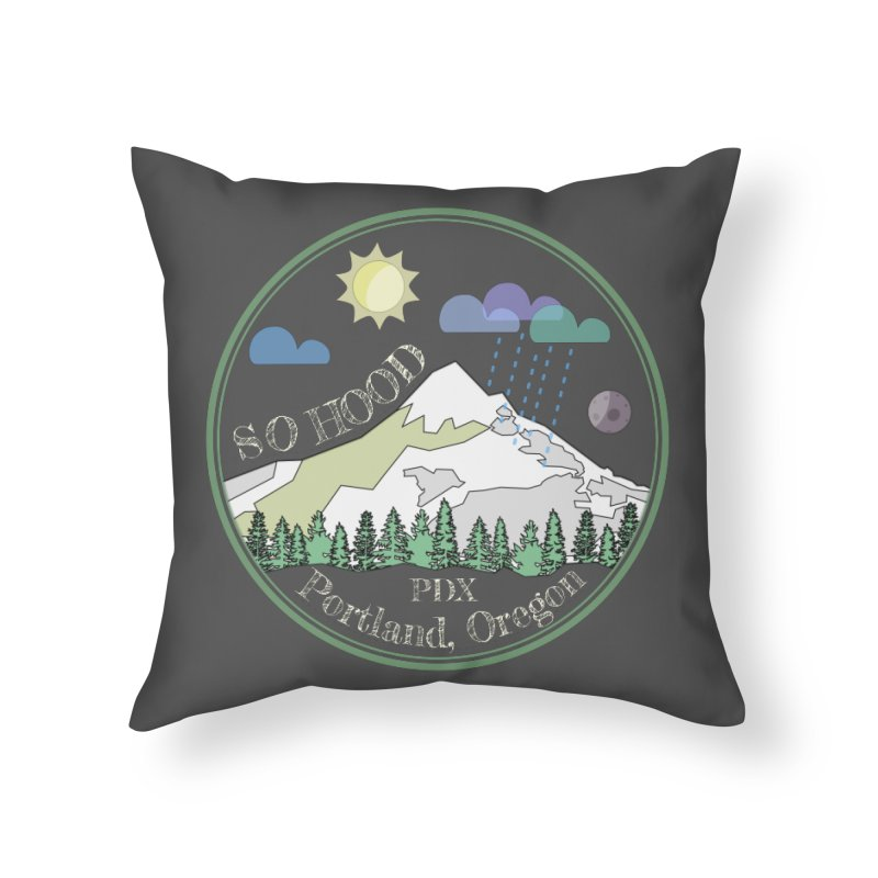 Mt. Hood [Day, transparent background, light text] Home Throw Pillow by Northern Limit