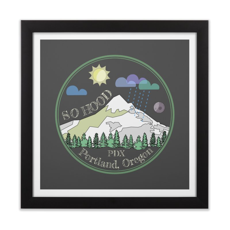 Mt. Hood [Day, transparent background, light text] Home Framed Fine Art Print by Northern Limit